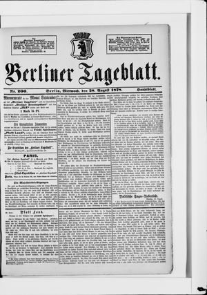 Berliner Tageblatt und Handels-Zeitung vom 28.08.1878