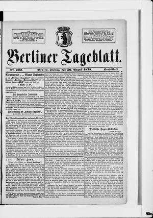 Berliner Tageblatt und Handels-Zeitung vom 30.08.1878