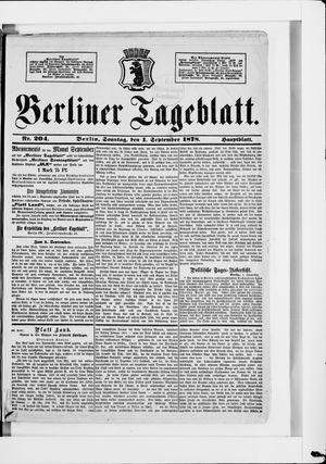 Berliner Tageblatt und Handels-Zeitung vom 01.09.1878