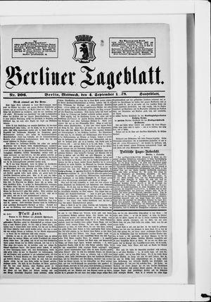 Berliner Tageblatt und Handels-Zeitung vom 04.09.1878