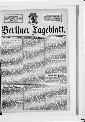 Berliner Tageblatt und Handels-Zeitung vom 07.09.1878