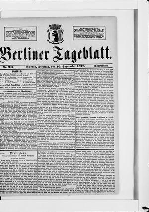 Berliner Tageblatt und Handels-Zeitung vom 10.09.1878