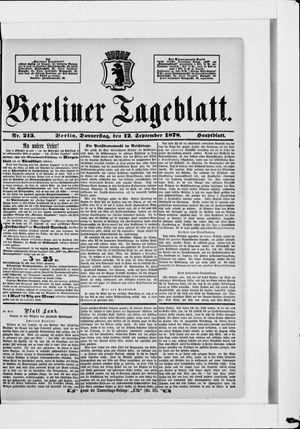 Berliner Tageblatt und Handels-Zeitung vom 12.09.1878