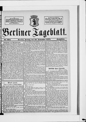 Berliner Tageblatt und Handels-Zeitung on Sep 13, 1878