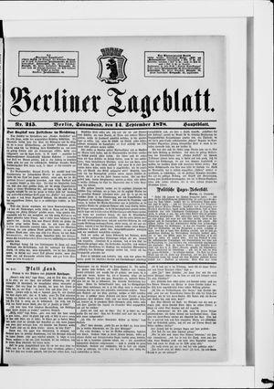 Berliner Tageblatt und Handels-Zeitung vom 14.09.1878