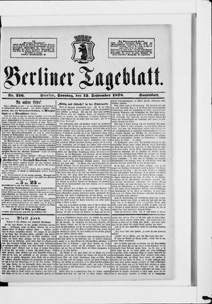 Berliner Tageblatt und Handels-Zeitung vom 15.09.1878