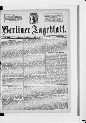Berliner Tageblatt und Handels-Zeitung vom 17.09.1878