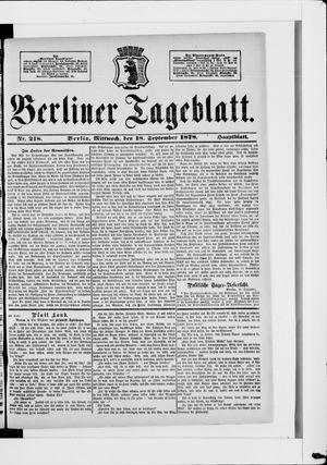 Berliner Tageblatt und Handels-Zeitung vom 18.09.1878