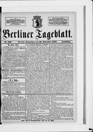 Berliner Tageblatt und Handels-Zeitung vom 19.09.1878