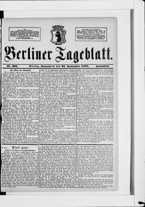 Berliner Tageblatt und Handels-Zeitung vom 21.09.1878