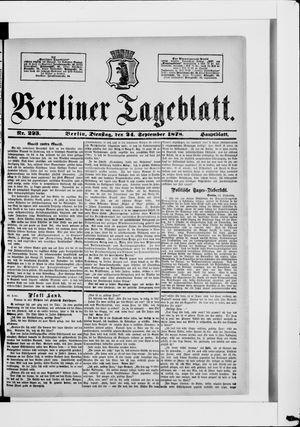 Berliner Tageblatt und Handels-Zeitung vom 24.09.1878