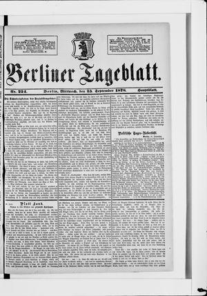 Berliner Tageblatt und Handels-Zeitung vom 25.09.1878