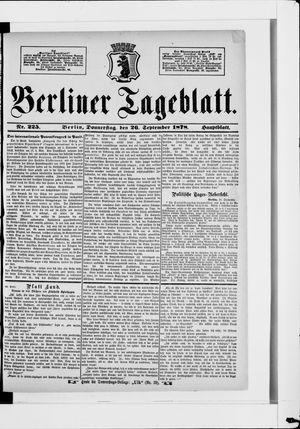 Berliner Tageblatt und Handels-Zeitung vom 26.09.1878
