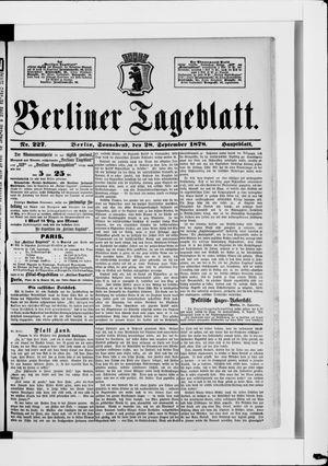 Berliner Tageblatt und Handels-Zeitung vom 28.09.1878