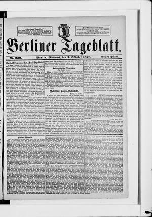 Berliner Tageblatt und Handels-Zeitung vom 02.10.1878