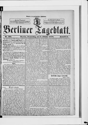 Berliner Tageblatt und Handels-Zeitung vom 03.10.1878