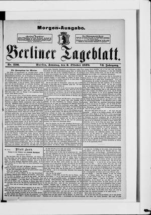 Berliner Tageblatt und Handels-Zeitung vom 06.10.1878
