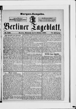 Berliner Tageblatt und Handels-Zeitung vom 09.10.1878