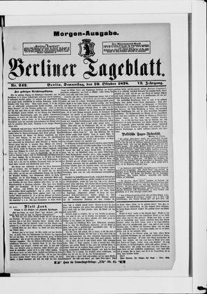 Berliner Tageblatt und Handels-Zeitung vom 10.10.1878