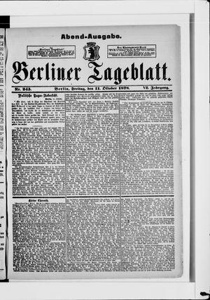 Berliner Tageblatt und Handels-Zeitung vom 11.10.1878