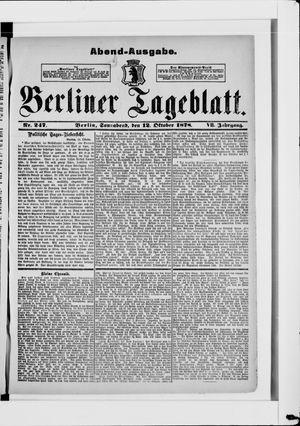 Berliner Tageblatt und Handels-Zeitung on Oct 12, 1878