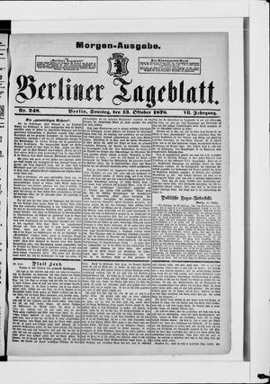 Berliner Tageblatt und Handels-Zeitung vom 13.10.1878