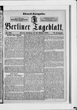 Berliner Tageblatt und Handels-Zeitung vom 15.10.1878