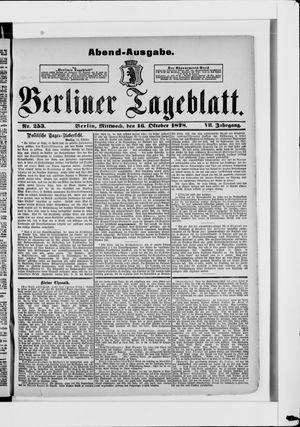 Berliner Tageblatt und Handels-Zeitung vom 16.10.1878