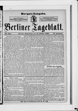 Berliner Tageblatt und Handels-Zeitung vom 17.10.1878