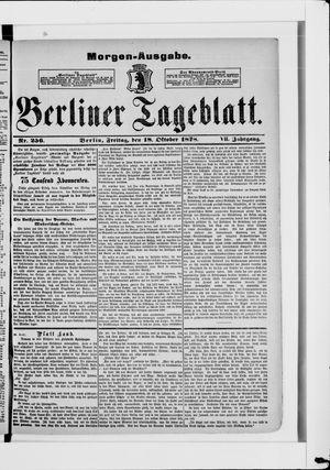 Berliner Tageblatt und Handels-Zeitung vom 18.10.1878