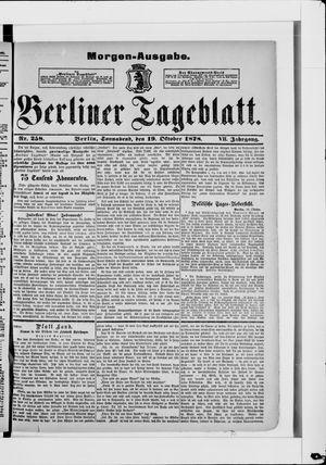 Berliner Tageblatt und Handels-Zeitung vom 19.10.1878