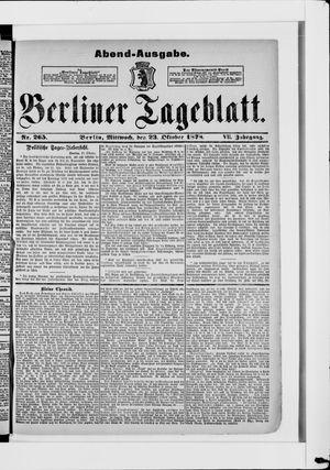 Berliner Tageblatt und Handels-Zeitung vom 23.10.1878