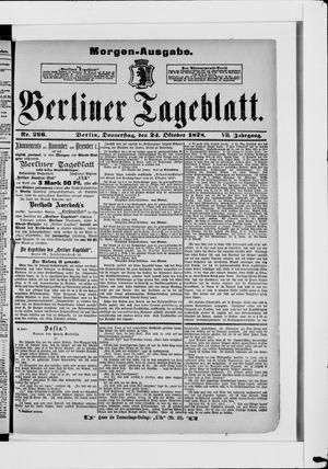 Berliner Tageblatt und Handels-Zeitung vom 24.10.1878