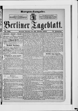 Berliner Tageblatt und Handels-Zeitung vom 25.10.1878