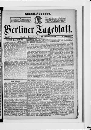 Berliner Tageblatt und Handels-Zeitung vom 26.10.1878