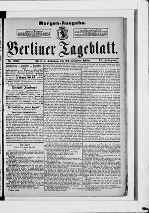 Berliner Tageblatt und Handels-Zeitung vom 27.10.1878