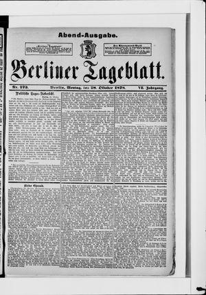 Berliner Tageblatt und Handels-Zeitung vom 28.10.1878