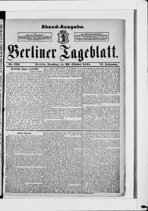 Berliner Tageblatt und Handels-Zeitung vom 29.10.1878