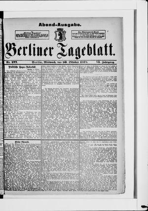 Berliner Tageblatt und Handels-Zeitung vom 30.10.1878