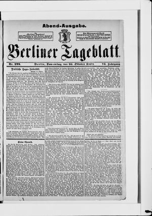 Berliner Tageblatt und Handels-Zeitung on Oct 31, 1878
