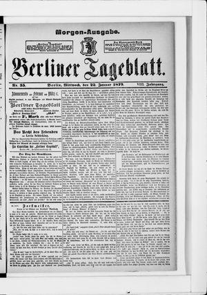 Berliner Tageblatt und Handels-Zeitung vom 22.01.1879