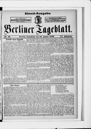 Berliner Tageblatt und Handels-Zeitung vom 25.01.1879