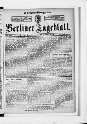 Berliner Tageblatt und Handels-Zeitung vom 30.01.1879