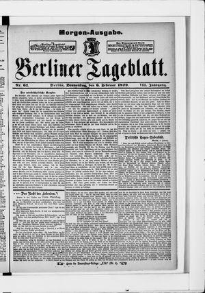 Berliner Tageblatt und Handels-Zeitung vom 06.02.1879