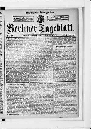 Berliner Tageblatt und Handels-Zeitung vom 11.02.1879