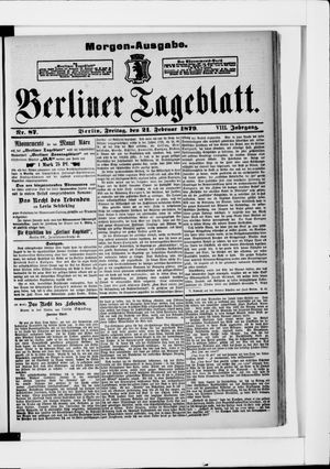 Berliner Tageblatt und Handels-Zeitung vom 21.02.1879