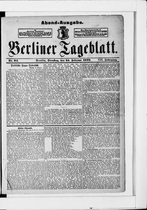 Berliner Tageblatt und Handels-Zeitung vom 25.02.1879