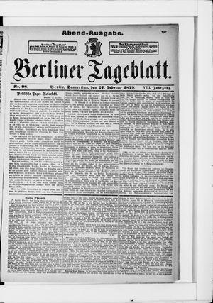Berliner Tageblatt und Handels-Zeitung vom 27.02.1879