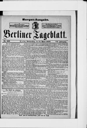 Berliner Tageblatt und Handels-Zeitung vom 03.04.1879