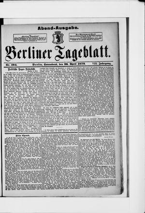 Berliner Tageblatt und Handels-Zeitung vom 26.04.1879